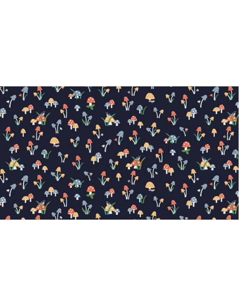 PD's Dear Stella Collection May the Forest Be With You, Mushrooms in Navy, Dinner Napkin