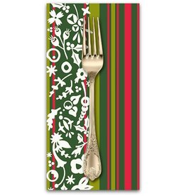 Christmas Collection ON SALE-Holiday, Mistletoe in Stripe, Dinner Napkin