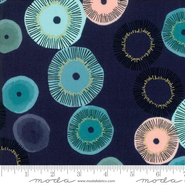 Zen Chic Day in Paris, Blooming in Navy with Metallic, Fabric Half-Yards 1680 18M