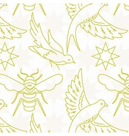 Alison Glass Sun Print Light, Flourish in Chartreuse, Fabric Half-Yards A-8446-G