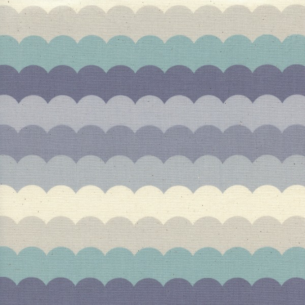 Cotton + Steel ON SALE-Panorama, Scallops in Arctic Unbleached Cotton, Fabric Half-Yards  C5172-001