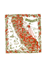 "Red & White Kitchen Co. California Red+Green Flour Sack Towel 22"" x 22"""