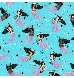 Hello!Lucky Hello Lucky, Mermaids in Aqua, Fabric Half-Yards AILD-18669-70
