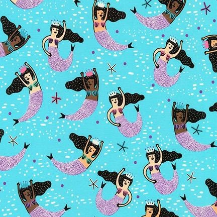 Hello!Lucky Hello Lucky, Mermaids in Aqua, Fabric Half-Yards AILD-18669-70