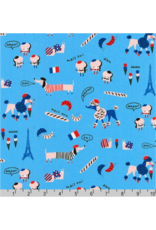 Hello!Lucky Hello Lucky, French Dogs in Paris Blue, Fabric Half-Yards AILD-18671-4