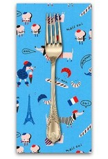 PD's Hello!Lucky Collection Hello Lucky, French Dogs in Paris Blue, Dinner Napkin