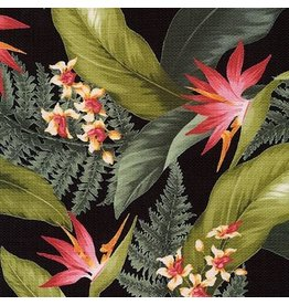 Robert Kaufman Barkcloth, Sevenberry Island Paradise in Black, Fabric Half-Yards SB-4145D3-4