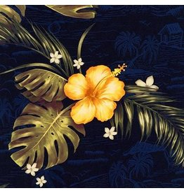 Robert Kaufman Rayon, Makaha Nights in Navy, Fabric Half-Yards SRKD-18992-9