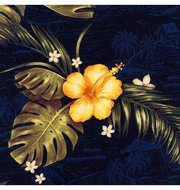 Robert Kaufman Rayon, Makaha Nights in Navy, Fabric Half-Yards SRKD-18992-9