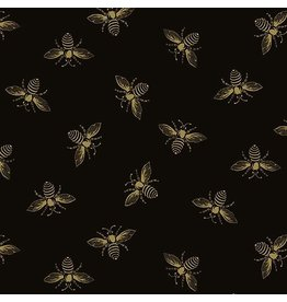 Andover Fabrics Riviera Rose, Bees in Black, Fabric Half-Yards A-9084-K