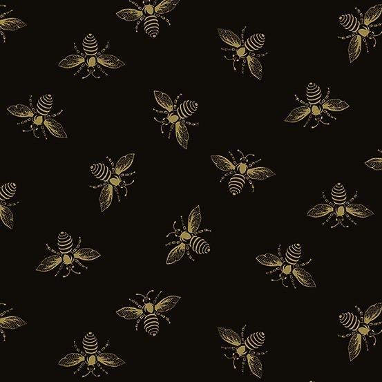 Andover Fabrics Riviera Rose, Bees in Black, Fabric Half-Yards A-9084-K