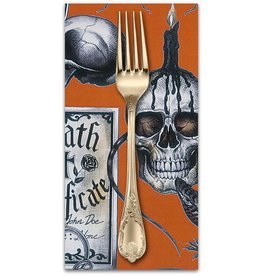 PD's Alexander Henry Collection Haunted House, Dark Magic in Orange Halloween, Dinner Napkin
