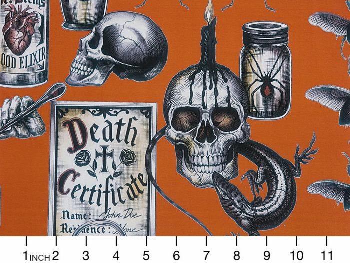 Alexander Henry Fabrics Haunted House, Dark Magic in Orange Halloween, Fabric Half-Yards 8737BR
