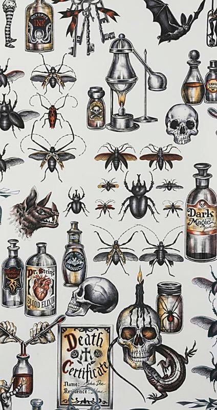 Alexander Henry Fabrics Haunted House, Dark Magic in Tea Halloween, Fabric Half-Yards 8737A