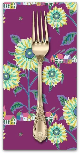 Souvenir, Sunny Village in Aubergine, Dinner Napkin