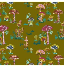 Souvenir, Beautiful Mushrooms in Army, Fabric Half-Yards PWNL002
