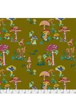 Souvenir, Beautiful Mushrooms in Army, Fabric Half-Yards PWNL002