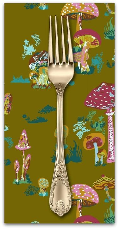 Souvenir, Beautiful Mushrooms in Army, Dinner Napkin