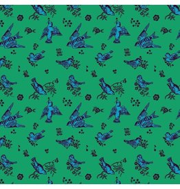 Souvenir, Birds and Love in Jade, Fabric Half-Yards PWNL005