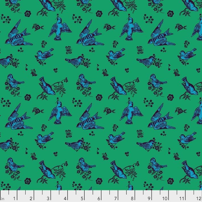 Souvenir, Birds and Love in Jade, Fabric Half-Yards PWNL005