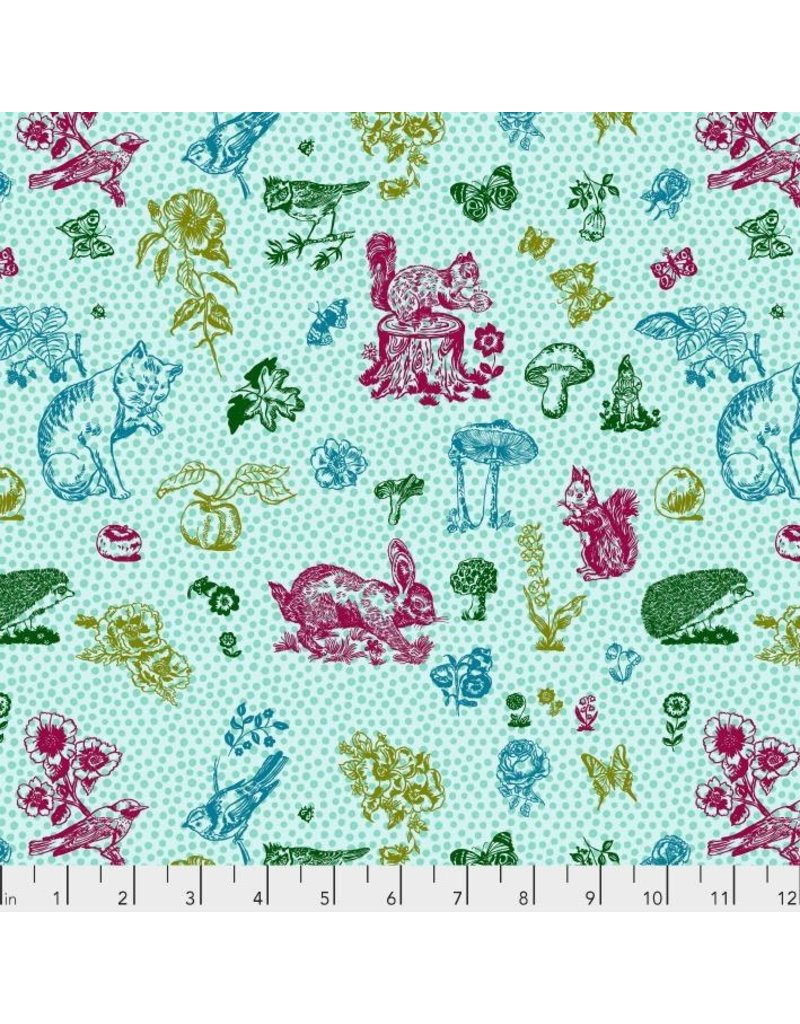 Souvenir, In My Garden Cats in Aqua, Dinner Napkin