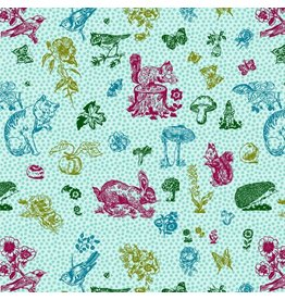 Souvenir, In My Garden Cats in Aqua, Fabric Half-Yards PWNL004