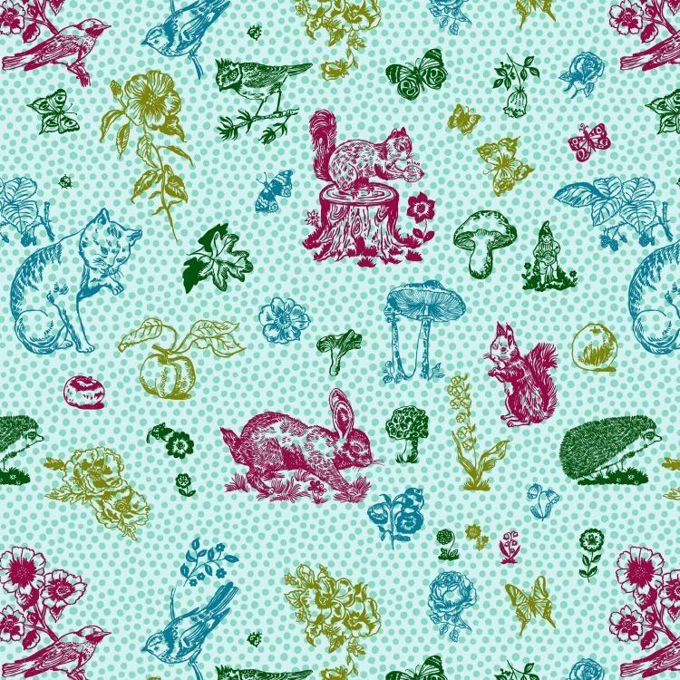 Souvenir, In My Garden Cats in Aqua, Fabric Half-Yards PWNL004
