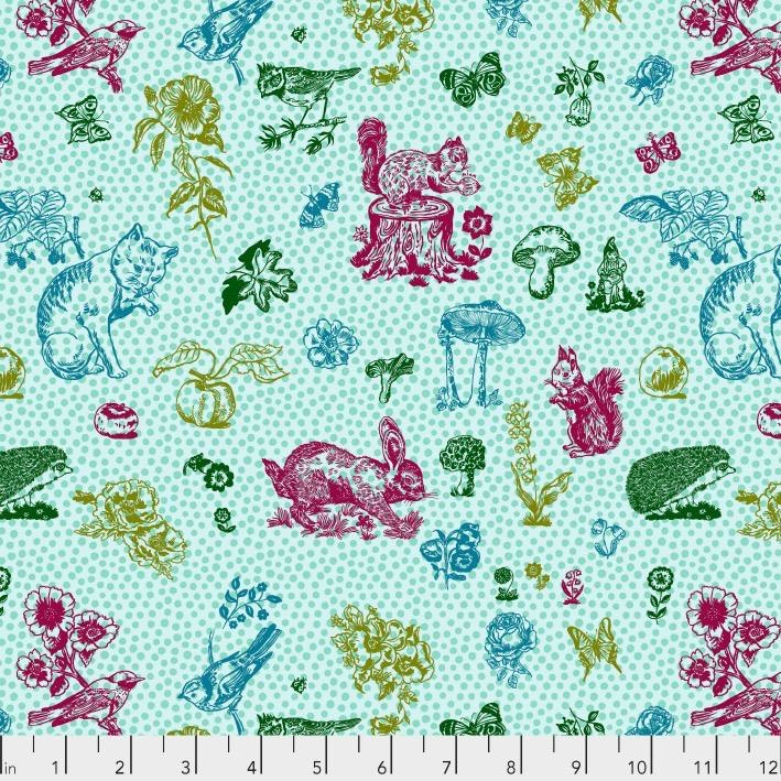 Souvenir, In My Garden in Aqua, Fabric Half-Yards PWNL004