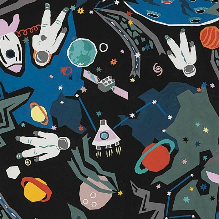 Alexander Henry Fabrics Monkey's Bizness, Outer Space in Black, Fabric Half-Yards 8621A