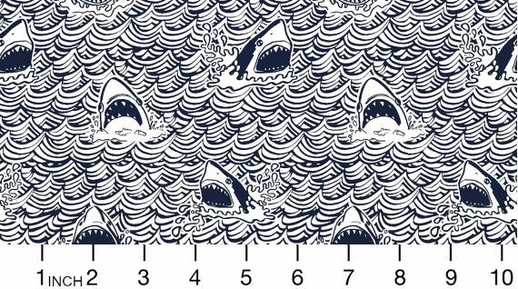 Dear Stella Bite Me, Dark and Stormy Sharks in Indigo Fabric Half-Yards STELLA-824