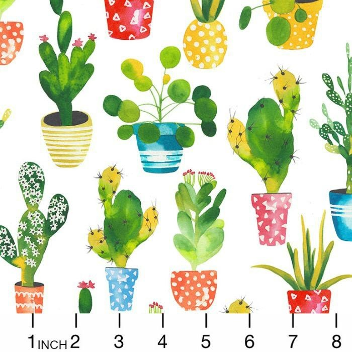 Timeless Treasures West, Potted Cacti in White, Fabric Half-Yards C7216
