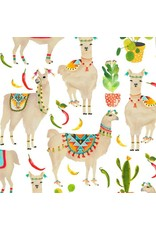 Timeless Treasures West, Llamas in White, Fabric Half-Yards C7213