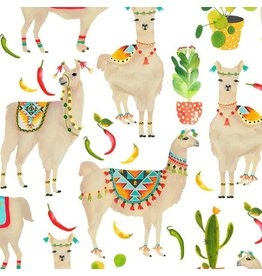 Timeless Treasures West, Llamas in White, Fabric Half-Yards C7213