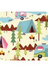Timeless Treasures Fun, Camping Scenic in Cream, Fabric Half-Yards C2324