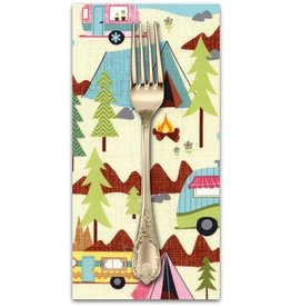 PD's Timeless Treasures Collection Fun, Camping Scenic in Cream, Dinner Napkin