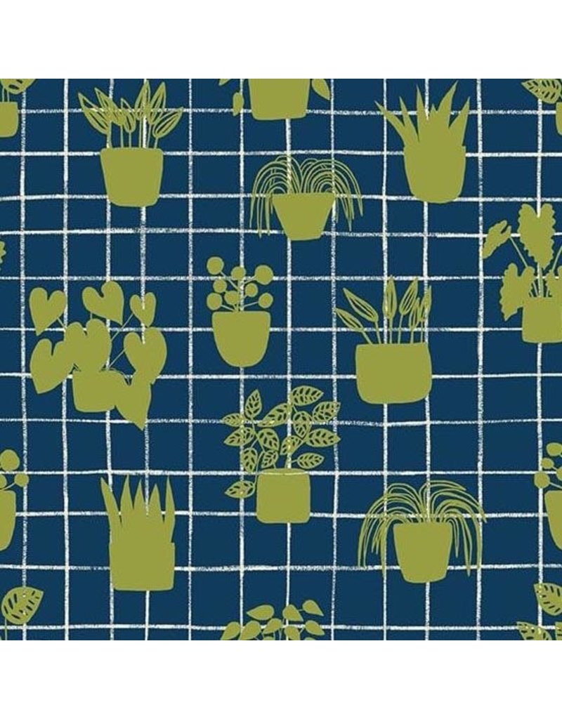 Sarah Golden Home, House Plants in Cobalt, Fabric Half-Yards A-9167-B
