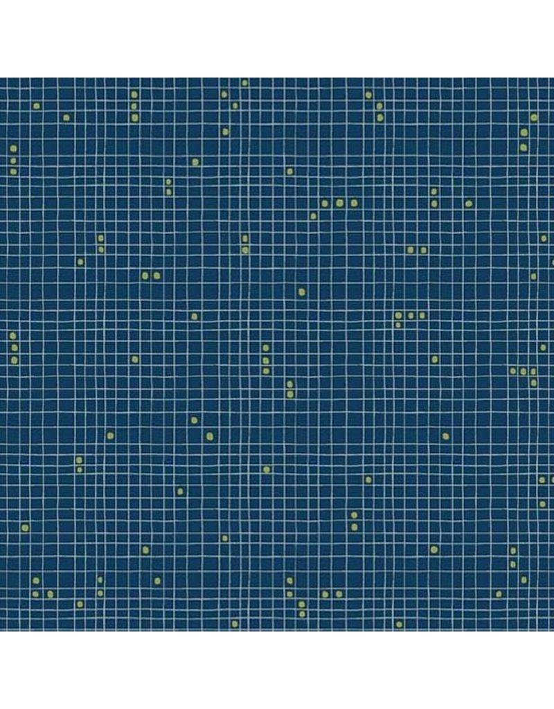 Sarah Golden Home, Grid Dot in Cyan, Fabric Half-Yards A-9173-BG
