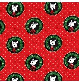 Michael Miller ON SALE-Hello My Deer, Fawn Laureates in Red, Fabric full-Yards CM8071