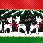 Michael Miller Hello My Deer, Border Print in Santa, Fabric Half-Yards CM8073