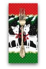 Christmas Collection ON SALE-Hello My Deer, Border Print in Santa, Dinner Napkin