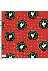 Christmas Collection Hello My Deer, Fawn Laureates in Red, Dinner Napkin