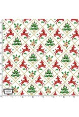Christmas Collection Hello My Deer, Fawn Frolic in White, Dinner Napkin
