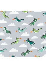 Hello!Lucky Hello Lucky, Dragons in Grey, Fabric Half-Yards AILD-18670-12