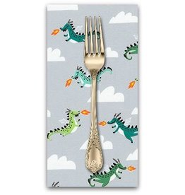 PD's Hello!Lucky Collection Hello Lucky, Dragons in Grey, Dinner Napkin
