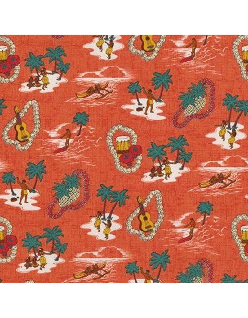 Sevenberry Island Paradise Life in Pimento, Fabric Half-Yards SB-4143D1-3<br /> (ONE .75 YARD CUT REMAINING)