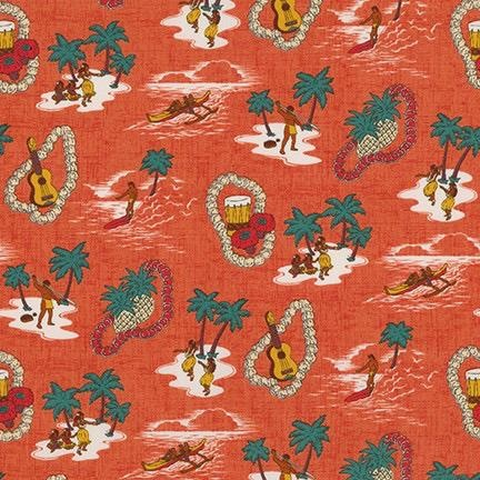 Robert Kaufman Sevenberry, Island Paradise in Pimento, Fabric Half-Yards SB-4143D1-3