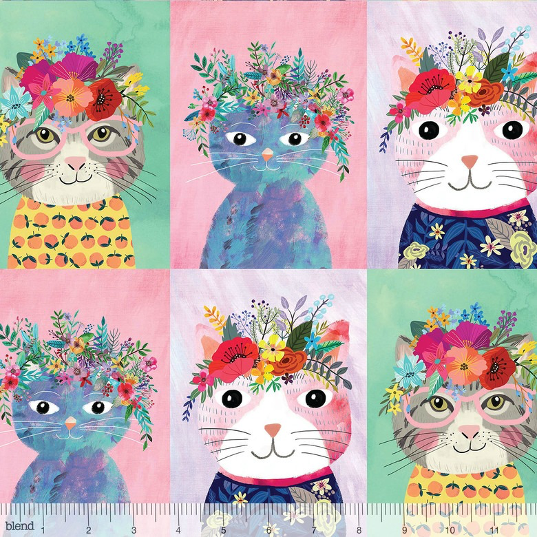 Mia Charro Floral Pets, Floral Kitty in Multi, Fabric Half-Yards 129.101.02.1