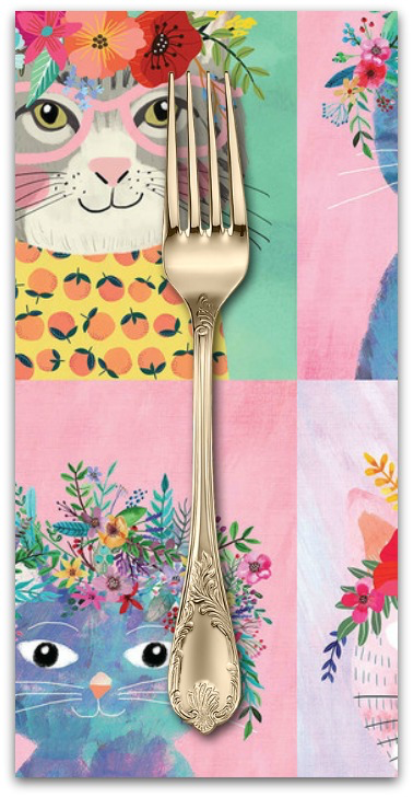 PD's Mia Charro Collection Floral Pets, Floral Kitty in Multi, Dinner Napkin