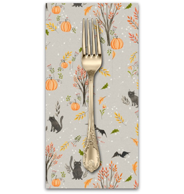 PD's Cori Dantini Collection Halloweeny, Cats and Bats in Grey, Dinner Napkin