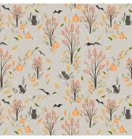 Cori Dantini Halloweeny, Cats and Bats in Grey, Fabric Half-Yards 112.123.03.1